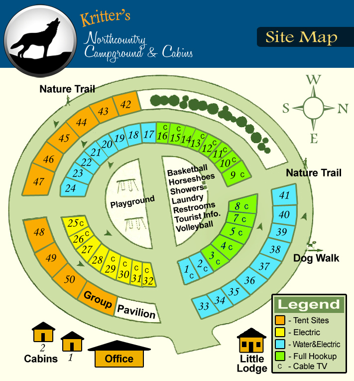 Page Map Site: Kritter's Northcountry Campground & Cabins